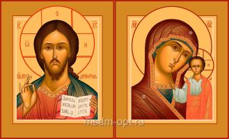 Венчальная пара икон Господь Вседержитель (арт.04131) и Божия Матерь Казанская (арт.04331-2c)
