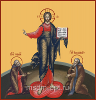 Господь Вседержитель,  преподобный Сергий Радонежский и преподобный Варлаам Хутынский, икона (арт.04137)