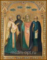 Спиридон Тримифунтский святитель, Пелагия Антиохийская преподобная, Параскева Пятница мученица, Сергий Радонежский преподобный, икона (арт.04668)