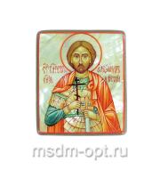 Александр Невский благоверный князь, икона. Миниатюра на перламутре (арт.38939)