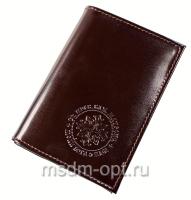 Обложка для авто документов, тиснение молитва св. Матроне Московской,  крыло кожа с визитницей, паспорт (арт.МВ53М) коричневая