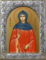 Кира Берийская (Македонская) преподобная, икона  в посеребренной рамке, золочение,  140 х 180 мм (арт.55065-01)