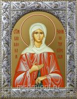 Ксения Петербургская блаженная, икона в посеребренной рамке, золочение,  140 х 180 мм (арт.55075-01)