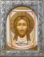 Спас Нерукотворный, икона  в посеребренной рамке, золочение,  140 х 180 мм (арт.55130-01)