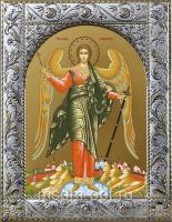 Ангел Хранитель, икона в посеребренной рамке, золочение,  140 х 180 мм (арт.55166-01)