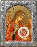 Михаил архангел, икона  в посеребренной рамке, золочение,  140 х 180 мм (арт.55173-01)