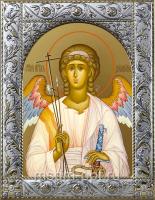 Ангел Хранитель, икона  в посеребренной рамке, золочение,  140 х 180 мм (арт.55186-01)