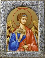 Ангел Хранитель, икона в посеребренной рамке, золочение,  140 х 180 мм (арт.55193-01)