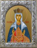Тамара благоверная царица, икона в посеребренной рамке, золочение,  140 х 180 мм (арт.55488-01)