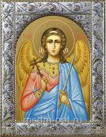 Ангел Хранитель, икона в посеребренной рамке, золочение,  140 х 180 мм (арт.556157-01)