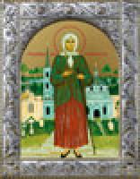 Ксения Петербургская, икона в посеребренной рамке, золочение,  140 х 180 мм (арт.55811-01)