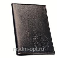 Обложка для авто документов, тиснение молитва свт. Спиридону, крыло кожа с визитницей (арт.МВ52С) черная