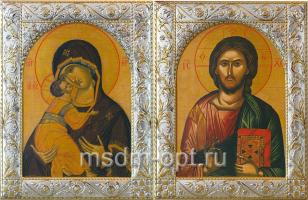 Венчальная пара икон Господь Вседержитель (арт.01047-255) и Божия Матерь Владимирская (арт.02094-255) в посеребренной рамке, золочение, 140 х 180 мм