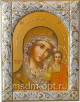 Казанская икона Божией Матери, икона  в посеребренной рамке, золочение, 140 х 180 мм (арт.00210-55)