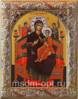 Всецарица икона Божией Матери, икона  в посеребренной рамке, золочение, красная эмаль, 140 х 180 мм (арт.06231-55)
