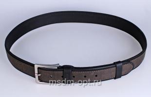 00412 Пояс ремень мужской кожаный, однослойный, прошитый. Фигурная пряжка. Ширина 40 мм (арт.МТ5)