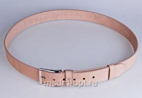 00516 Пояс ремень мужской кожаный, однослойный, не прошитый. Ширина 40 мм (арт.МП5) белый