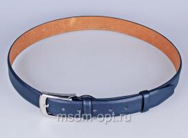 00114 Пояс ремень  кожаный, трехслойный, прошитый. Ширина 35 мм (арт.МП1)  синий