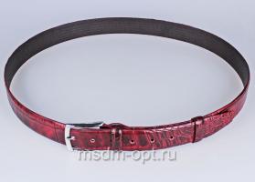 00116 Пояс ремень  кожаный, трехслойный, прошитый. Ширина 35 мм (арт.МП1) бордовый, тиснение крок.
