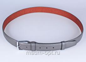 00118 Пояс ремень  кожаный, трехслойный, прошитый. Ширина 35 мм (арт.МП1) 00118 серый