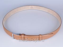 00115 Пояс ремень  кожаный, трехслойный, прошитый. Ширина 35 мм (арт.МП1)  бежевый