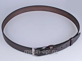 01012 Пояс ремень мужской кожаный, однослойный, тиснение строчки, прошитый. Ширина 35 мм (арт.МП10) коричневый
