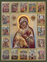 Владимирская икона Божией Матери с клеймами (арт.06331)