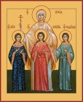 Вера, Надежда, Любовь и их матерь София мученицы, икона (арт.06581)