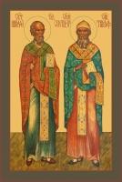 Николай Чудотворец и Спиридон Тримифунтский, святители, икона (арт.00735)
