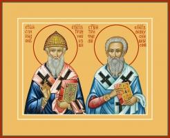 Спиридон Тримифунтский и Трифиллий, епископ Левкуссийский, святители, икона (арт.00770)
