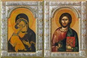 Венчальная пара икон Господь Вседержитель (арт.01047-285) и Божия Матерь Владимирская (арт.02094-285)  в посеребренной рамке, золочение, 180 х 240 мм
