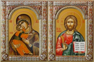 Венчальная пара икон Господь Вседержитель (арт.04106-85) и Божия Матерь Владимирская (арт.04206-85)  в посеребренной рамке, золочение, красная эмаль, 180 х 240 мм