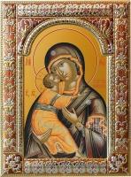 Владимирская икона Божией Матери, икона в посеребренной рамке, золочение, красная эмаль, 180 х 240 мм (арт.00378-85)