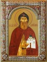 Даниил Московский благоверный князь, икона в посеребренной рамке, золочение, красная эмаль, 180 х 240 мм (арт.00412-85)
