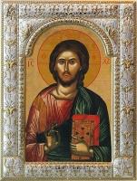 Господь Вседержитель, икона в посеребренной рамке, золочение, 180 х 240 мм (арт.01047-285)