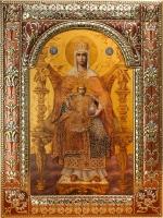 Державная икона Божией Матери, икона в посеребренной рамке, золочение, красная эмаль, 180 х 240 мм (арт.04229-285)