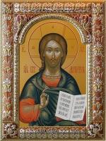 Господь Вседержитель, икона в посеребренной рамке, золочение, красная эмаль, 180 х 240 мм (арт.06105-85)