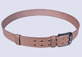 00516 Пояс ремень мужской кожаный, однослойный, прошитый. Фигурная пряжка. 40 мм (арт.МТ5) бежевый