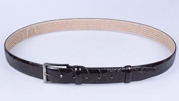 00112 Пояс ремень  кожаный, трехслойный, не прошитый. Ширина 35 мм (арт.МП1)  коричневый, тиснение крок
