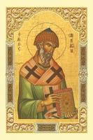 Спиридон Тримифунтский святитель, икона с молитвой, дорожная, пластик (арт.4712)
