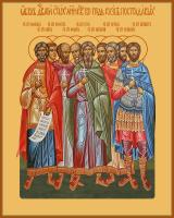 Девять святых мучеников Кизических: Феогнид, Руф, Антипатр, Феостих, Артема, Магн, Феодот, Фавмасий и Филимон, икона (арт.м0654)