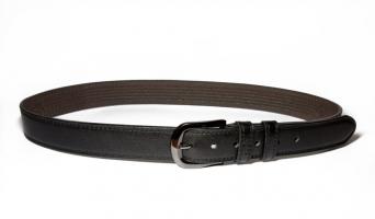 00111 Пояс ремень мужской кожаный, трехслойный, прошитый. Ширина 35 мм (арт.МП1) черный