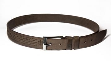 00512 Пояс ремень мужской кожаный, однослойный, не прошитый. Ширина 40 мм (арт.МП5) коричневый