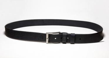 00611 Пояс ремень мужской кожаный, однослойный, гладкий, прошитый. 35 мм (арт.МП6) черный