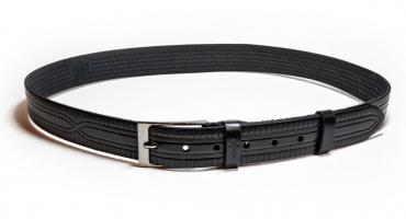 01211Пояс ремень мужской кожаный, однослойный, тиснение рисунка. Ширина 35 мм (арт.МП12) черный