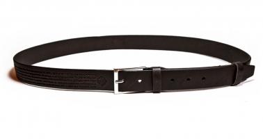 00612 Пояс ремень мужской кожаный, однослойный, гладкий, прошитый. Ширина 35 мм (арт.МП6) коричневый