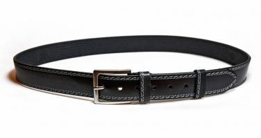 00511 Пояс ремень мужской кожаный, однослойный, не прошитый. Ширина 40 мм (арт.МП5) черный