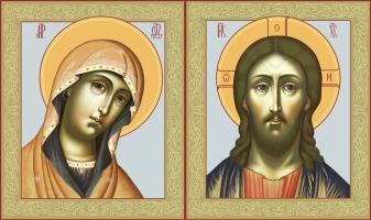 Венчальная пара икон Господь Вседержитель (арт.00111) и Божия Матерь Деисусная (арт.00211)